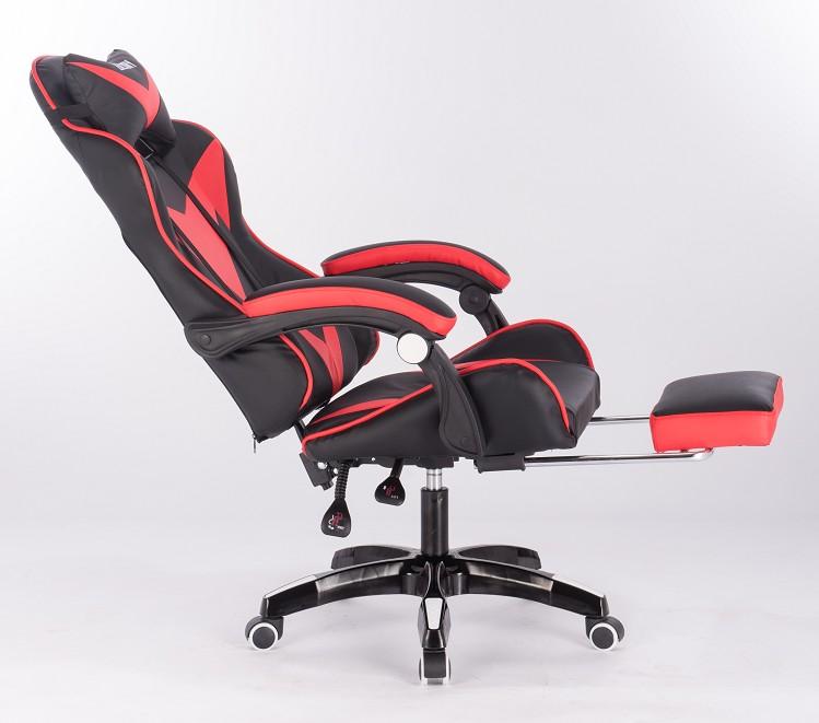 Игровое кресло Glory красное (с подставкой для ног)