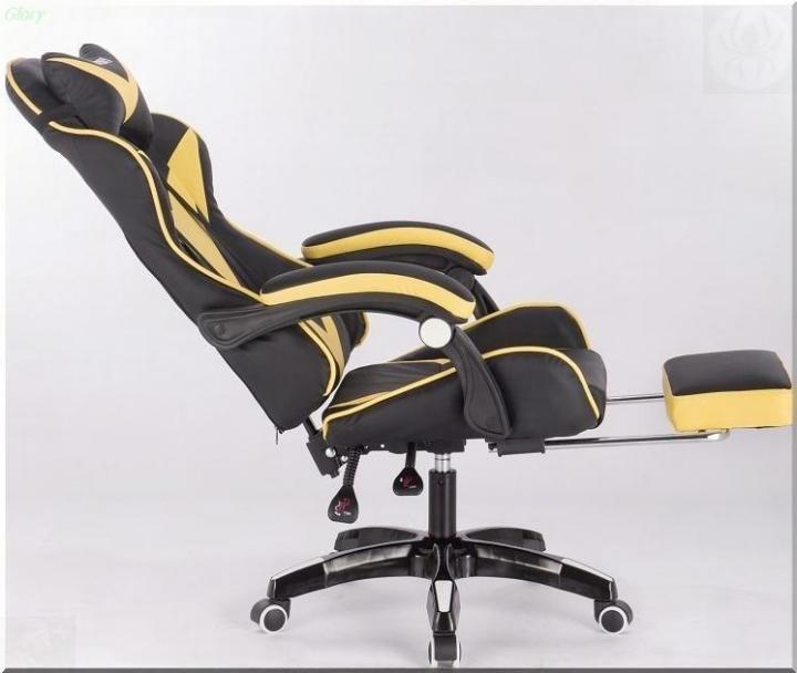 Геймерское кресло Domtwo жёлтое (с подставкой для ног)
