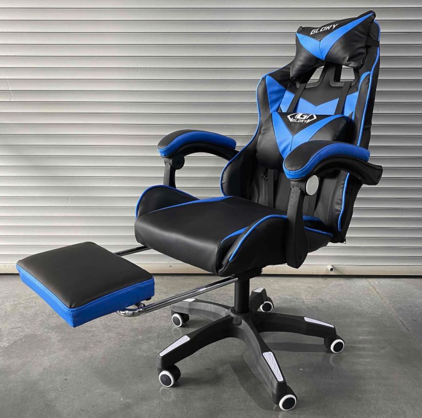 Игровое кресло Glory синее (с подставкой для ног)